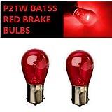 2x P21W BA15s 382 12v Red Stop Brake Tail Light Car Bulbs (Opposite Pins)