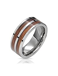 Bling Jewelry Double Wood and Tungsten Wedding Band