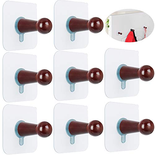 FOTYRIG Adhesive Hooks, Hat Hooks Wall Mounted Hat Hanger Rack Organizer No Drills Wooden Storage Coat Hanging Hook for Baseball Caps, Coat Towel Hat Key Robe On Door Wardrobe Closet-8 Pack