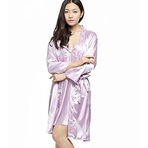 CHUNHUA modelos de explosión muelle exterior de desgaste pijamas de seda de seda de imitación tirantes de dos piezas chándal vestido (color opcional) , malachite green , l Purple