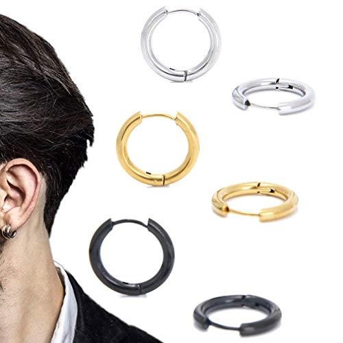 """Stainless Steel Huggy Hoop Earrings - Hinged Hoop Huggie Piercing Earrings Set For Men Women,Hypoallergenic Helix Lobes Small Round Earrings (3 pairs of earrings (silver, gold, black) 0.47"""" (12MM))"""