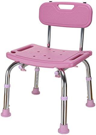 Cqq Badestuhl Deluxe höhenverstellbare Aluminium Badewanne/Duschstuhl mit Rücken- und Duschkopf Halter-Anwendbar für ältere Menschen, Schwangere Frauen, Behinderte (Farbe : Rosa)