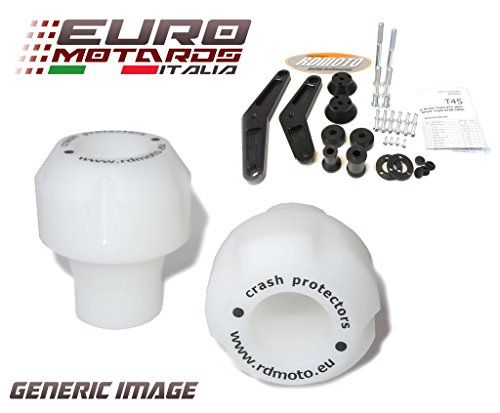Moto Frame Sliders - Suzuki GSXR 1000 2012-2014 RD Moto Crash Frame Sliders Protectors With Full Mounting Kit White