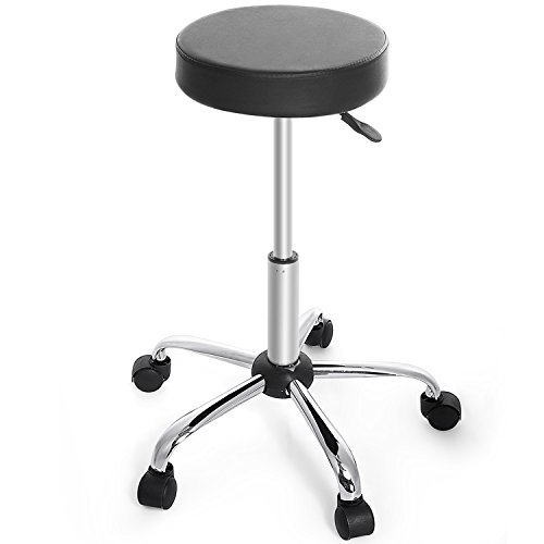 "Homevol Adjustable Rolling Stool with Wheels, PU Leather, Metal Frame, Height from 18"" to 23"", Black"