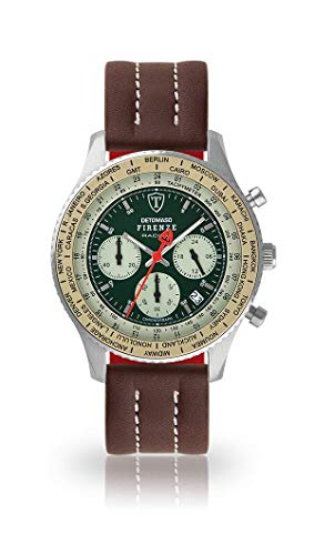 DETOMASO Firenze Mens Watch Chronograph Analog Quartz Brown Leather Strap Green dial DT1069-B-883