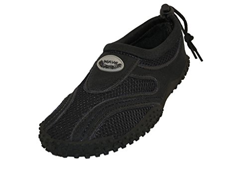 Wave Mens Waterproof Water Shoes (10 D(M) US, Black/Black) by The Wave Water Shoes