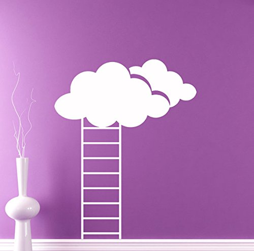 (A Design World Stairway to Heaven Vinyl Decal Fluffy Clouds Wall Sticker Sky Nursery Interior Wall Graphics Bedroom Children's Kids)