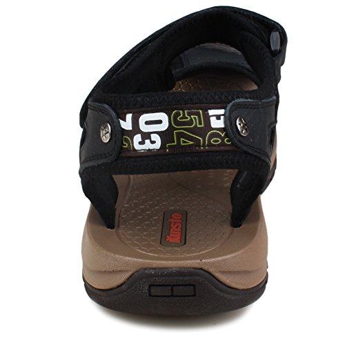 Sandalo Sportivo Da Passeggio In Pelle Uomo Kunsto Nero Causale