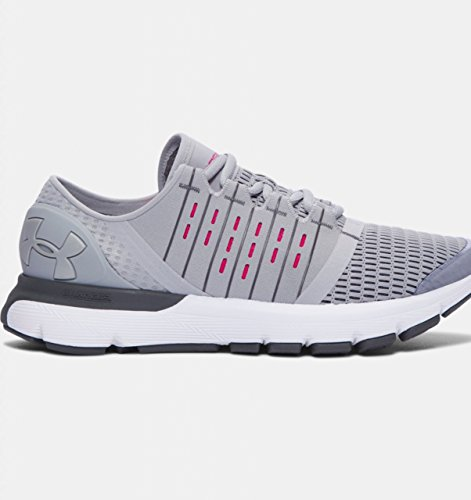 Under Armour Women's Speedform Europa Running Shoe, Blk/Ptp/MSV, M US Overcast Gray/Rhino Gray/Metallic Silver