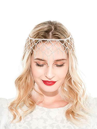20s Headpiece 1920s Accessories Flapper Headband Crystal Cap Art Deco Hair Piece Wedding (B-Gold)