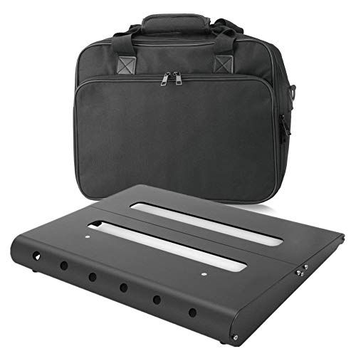 """GOKKO AUDIO GKB-51 Medium Aluminum Alloy Guitar Pedal Board 13.8"""" x 11"""" with Carrying Bag, Self Adhesive Hook & Loop Tapes Included"""
