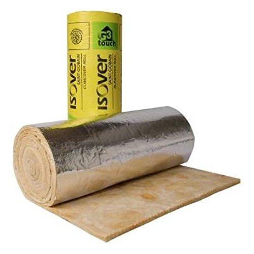 Conducto de aislamiento ISOVER glasswool manta 40 mm de grosor, acabado satinado quedando 12 m de largo, 1,2 m de ancho acabado satinado quedando 12m de largo 2m de ancho