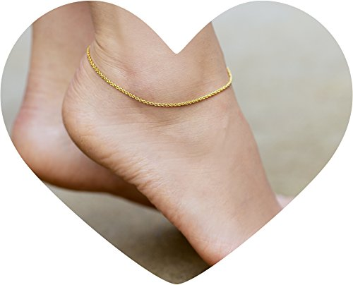 Fashion Jewelry 24k Gold Plated 1.5mm Anklets Friendly Lifetime Jewelry Anklets For Women Men And Teen Girls