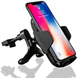 Black Horse Wireless Car Charger Mount Compatible with iPhone 8/8 Plus and X/Xs/ Xs Max and XR & Other Phones Support Qi Wireless (USB Cigarette Lighter Adapter Included)