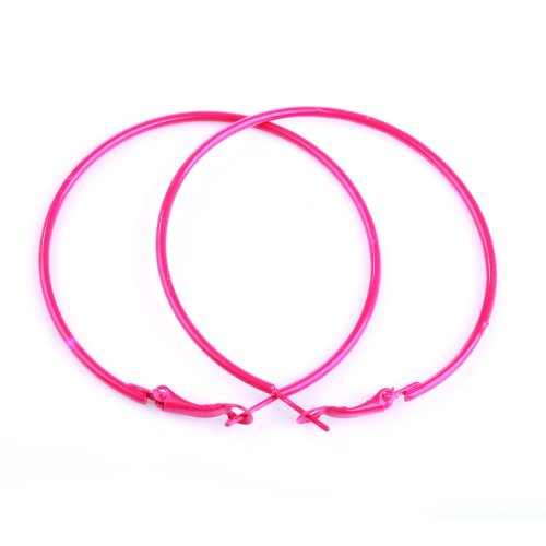 Pink Hoop Earrings (ILOVEDIY NEON HOT PINK Hoop Earrings 56mm Circle Size - Bright Flourescent, Vibrant Colors)