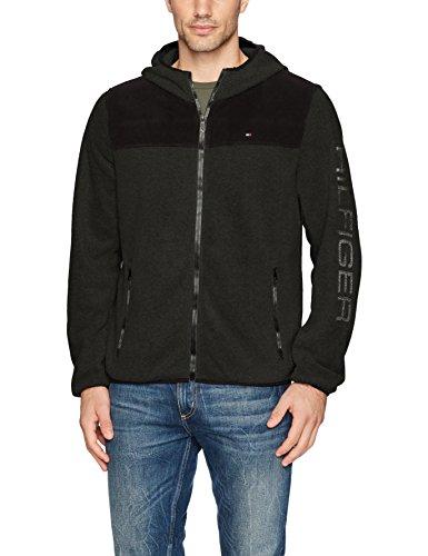Embroidered Multi Jacket (Tommy Hilfiger Men's Hooded Performance Fleece Jacket, Black/Charcoal Large)