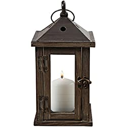 Whole House Worlds The Urban Zen Style Loop Top Lantern, Rustic Brown And Vintage Gray, Distressed Dark Wood, Galvanized Metal Reflective Bottom, Glass Panels,10 1/2 Inches Tall
