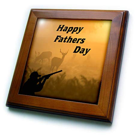(3dRose Lens Art by Florene - Fathers Day - Image of Happy Fathers Day for Deer Hunters - 8x8 Framed Tile (ft_310664_1))