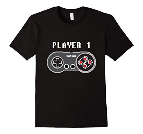Mens Player 1 Retro Video Game Controller T-Shirt Large Black