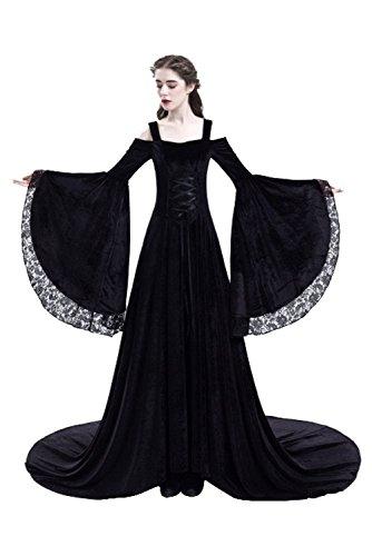 Flares Medieval Robe Robe Epaule avec Nu Deguisement Manches Reine Lace Noir Soiree de Halloween Longue Oqvdff
