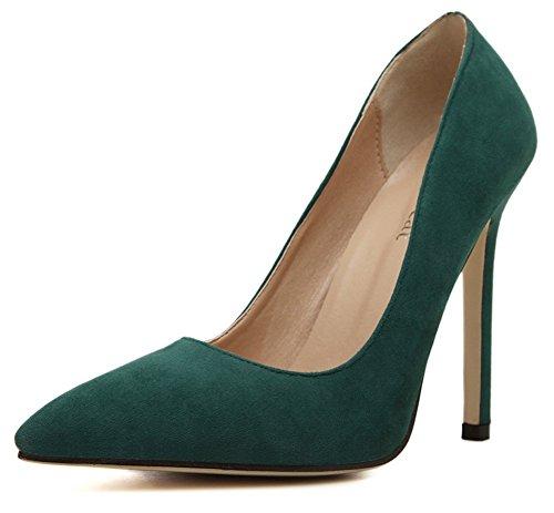Aisun Femmes Élégant Simple Bout Pointu Slip Sur Coupe Basse Habillé Bureau Stiletto Talons Hauts Pompes Chaussures Vert