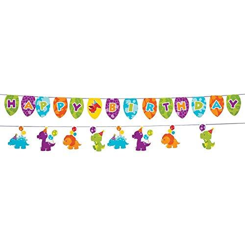 Fun Express Little Dinosaur Birthday Party Garland - 7 ft -
