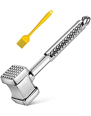 Padyrytu Meat Tenderizer Tool, 304 Stainless Steel Meat Mallet Pounder, Meat Hammer for Tenderizing Steak, Beef and Poultry, Heavy Duty Sturdy, Non-Slip Handle, 11 Inch, Dual-Sided