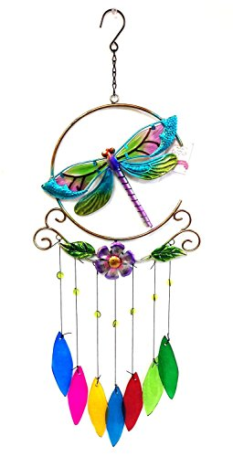 Dragonfly Chimes (Bejeweled Display® Unique Beautiful Dragonfly w/ Colored Glass Wind Chimess)