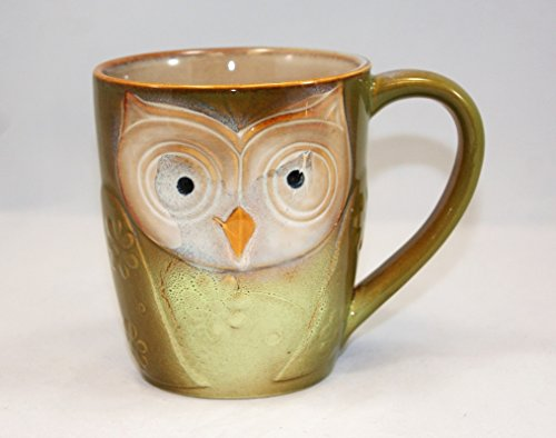 Owl City Elite Couture Ceramic Coffee & Tea Mug with an Owl Face, Tan 17 oz. (Mugs Office Faces With The)