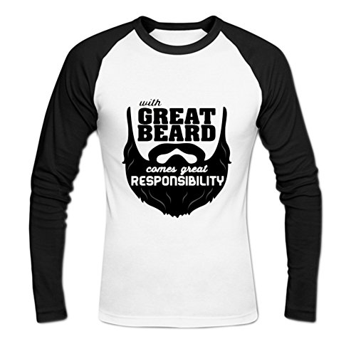 Mens-Cotton-With-Great-Beard-Comes-Great-Responsibility-Baseball-Tee