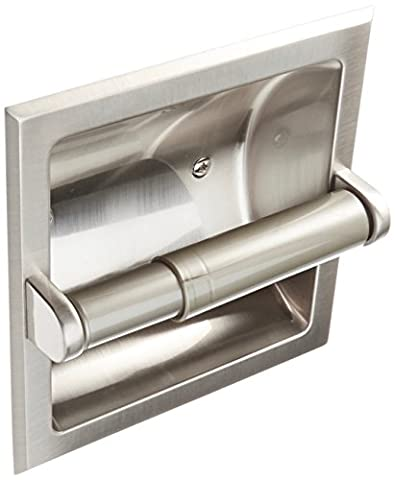Rocky Mountain Goods Recessed Toilet Paper Holder with Rear Mounting Bracket Install Kit - Easy installation - Saves space in your bathroom - Premium finish - Heavy duty metal (1, Brushed - Nickel Recessed Toilet Paper Holder