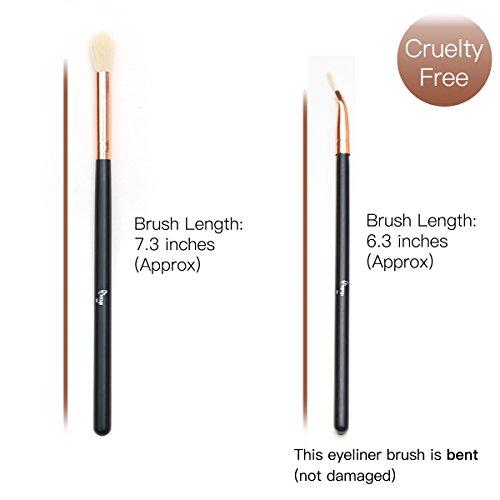 Qivange Eye Makeup Brushes Set, Synthetic Eye Brush Set Eye Makeup Brush Set Cosmetics Brushes Concealer Eyebrow Eyeliner Eyeshadow Blending Brushes(12pcs, Black with Rose Gold)