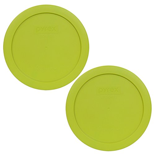 Pyrex 7201-PC Round 4 Cup Storage Lid for Glass Bowls (2, Edamame Green (Four Cups)