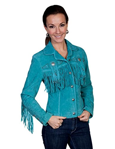 Scully Women's Fringe and Beaded Boar Suede Leather Jacket Turquoise X-Large