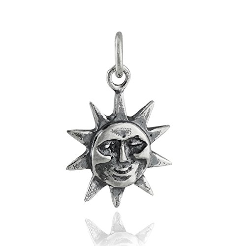 Sun Face Charm - 925 Sterling Silver - Sky Weather Hot Heat Sunshine - Jewelry Accessories Key Chain Bracelets Crafting Bracelet Necklace Pendants