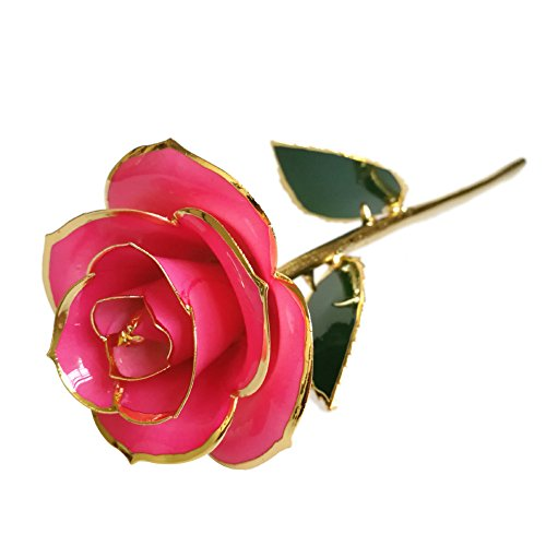 econoLED Long Stem Dipped 24k Gold Trim Red Rose in Gift Box,valentines Gifts for Couples, Cute Valentines Day Gift Ideas, Good Couple Gifts for Valentines, Romantic Anniversary Gifts (Pink)