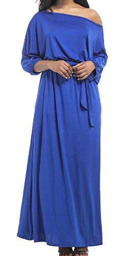 Les Femmes Coolred Élégant Moulantes Épaules Obliques Taille Plus Robe De Plage Maxi Bleu Royal