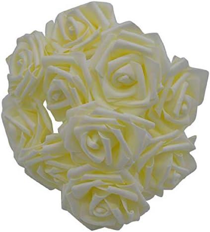 Yalulu Schuimrozen 50 stuks 8 cm schuimrozen bloemenkoppen van kunstbloemen rozenkoppen bruidsboeket party huisdecoratie beige