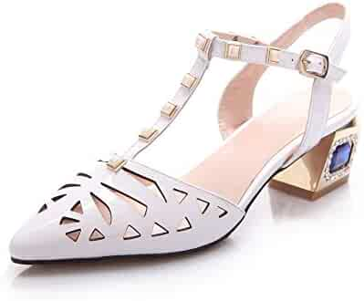 038c6c33f81b AmoonyFashion Women s Buckle Blend Materials Pointed-Toe Kitten-Heels Solid  Sandals