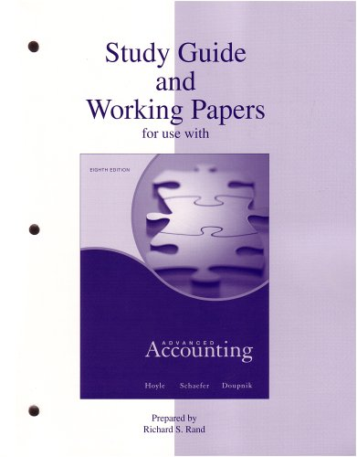 Study Guide & Working Papers to accompany Advanced Accounting