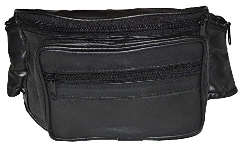 3204fb71f3b2 NEW Black Leather Fanny Pack- Mens Waist Belt Bag -Womens Purse Hip Pouch  Travel