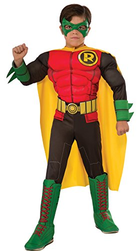 UHC Boy's Robin Dc Comics Batman Superhero Outfit Child Halloween Costume, M (8-10) (Robin Outfit For Babies)