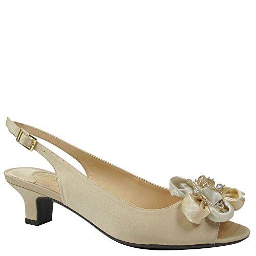 nelle Low Heel Open Toe Slingback,Champagne Satin,US 7 W ()