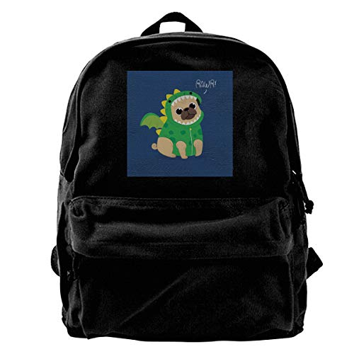 Fional Canvas Backpacks Cute Pug With Dragon Costume Leisure Rucksack Travel Bag ()