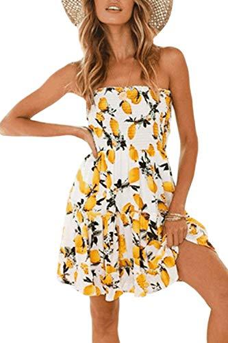 Zonsaoja Women's Strapless Dress Mini Floral Print Summer Tube Top Dresses Beach Yellow1 L