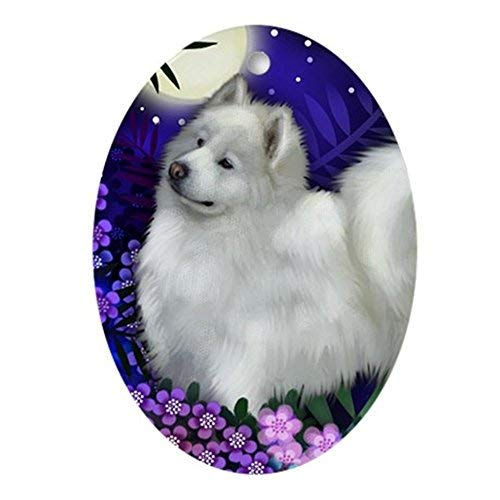 (hiusan Novelty Decoration Samoyed Dog Full Moon Christmas Ornaments Oval Porcelain Ceramic Keepsake 3 Inches)