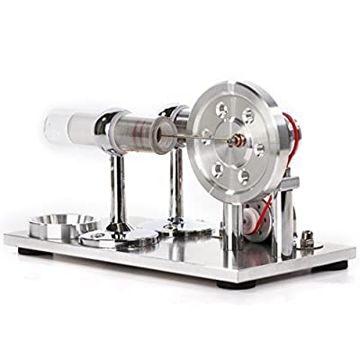 Sunnytech Hot Air Stirling Engine Motor Model Educational Toy Electricity Generator Colorful LED (SC001): Toys & Games