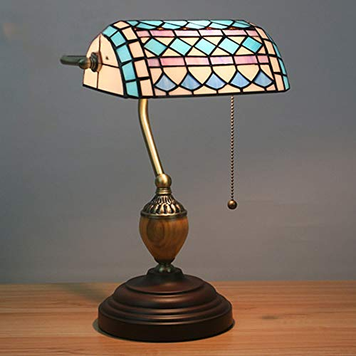 QRY Tiffany Style Retro Nostalgic Table Lamp Straight Into The Power Supply Bedroom Study Cafe Bar Two Tulips Blue Lattice Table Lamp Perfect Decoration (Color : Blue)