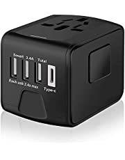 gaofonger Universal Travel Adapter with 3 USB + 1 Type C Charging Ports (Black)