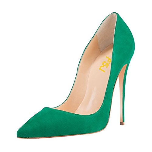 Heel Pointed Stiletto High (FSJ Women Sexy Suede Pointed Toe Pumps 12 cm High Heels Stilettos Prom Shoes Size 7 Green)